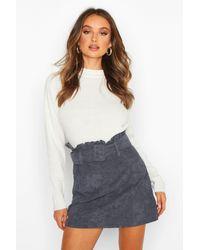 Boohoo Cord Belted Mini Skirt - Blu