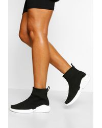 Boohoo Chunky Sole Knitted Sock Sneakers - Black