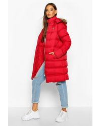 Boohoo Longline Faux Fur Trim Puffer Jacket - Red