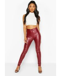 Boohoo Womens High Waist Matte Faux Leather Skinny Trousers - Red