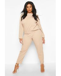 Boohoo Womens Plus Scuba Crepe Ruched Top & Trouser Co-ord - Beige - 12 - Natural