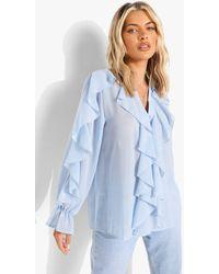 Boohoo Blusa De Chifón Texturizada Con Volante - Azul