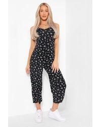 Boohoo Maternity Floral Culotte Jumpsuit - Black