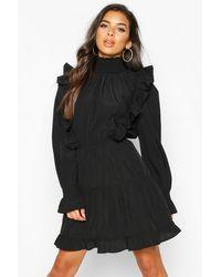 Boohoo Shirred High Neck Ruffle Midi Skater Dress - Black