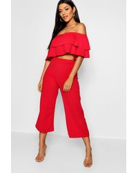 Boohoo - Womens Double Bandeau Top And Culotte Co-ord Set - Lyst
