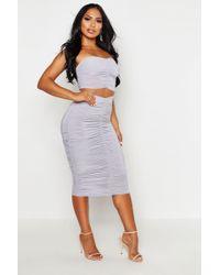 Boohoo Slinky Ruched Bardot Top & Midi Skirt Co-ord - Gray