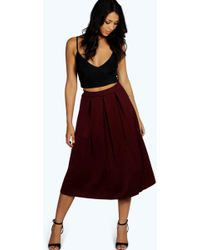 Boohoo Basic Box Pleat Midi Skirt - Brown