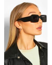 Boohoo Chunky Rectangle Oversized Sunglasses - Black