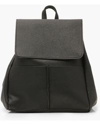 Boohoo Womens Textured Pu Flap & Pocket Detail Rucksack - Black