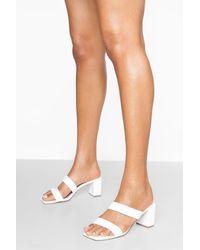 Boohoo Double Strap Block Heels - Blanco