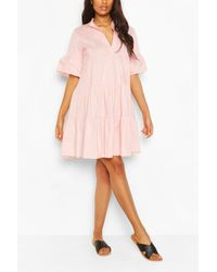 Boohoo Maternity Tiered Cotton Smock Dress - Pink