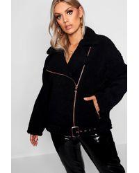 Boohoo Womens Plus Teddy Faux Fur Biker Jacket - Black - 20