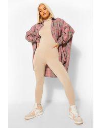 Boohoo Petite High Neck Long Sleeve Jumpsuit - Neutre