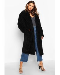 Boohoo Womens Oversized-Fake-Fur-Mantel - Schwarz