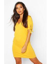 Boohoo Womens V Neck Tie Sleeve Jersey Shift Dress - Yellow