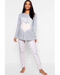 Boohoo Maternity Mini Me Pajama Set - Gray