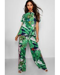 Boohoo - Penny Palm Print Top & Trouser Co-ord - Lyst