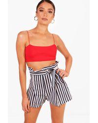 Boohoo - Tabitha Striped High Waisted Tie Belt Shorts - Lyst