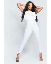 Boohoo Womens Bandeau-Jumpsuit aus recyceltem Material mit Scrunched-Rüschen - Weiß