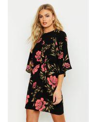 5e33464b4bf4 Boohoo Tie Neck Star Print Midi Dress in Black - Lyst