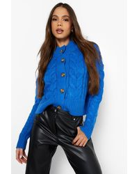 Boohoo Chunky Cable Knit Cropped Cardigan - Blue