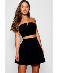 Boohoo Petite Box Pleat Skater Skirt - Black