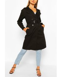 Boohoo Double Breasted D-ring Detail Trench - Black