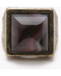 Boohoo Burnished Gold Ring With Black Stone - Metallic