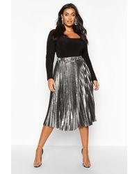 Boohoo Plus Metallic Pleated Midi Skirt - Gray