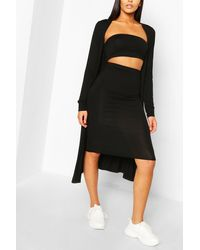 Boohoo 3 Piece Duster Bandeau & Skirt Co-ord Set - Natural