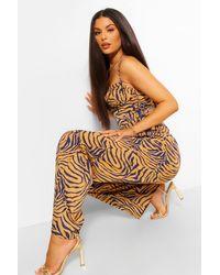 Boohoo Tiger Print High Waisted Wide Leg Trousers - Brown