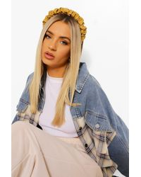 Boohoo Leather Look Ruched Headband - Yellow