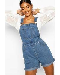 Boohoo Womens Denim Overall Shorts - Blue