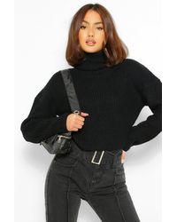 Boohoo Womens Kurzer Lässiger Pullover Aus Gdressing Gownm Strick - Schwarz