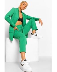 Boohoo Tailored Blazer And Self Fabric Belt Trousers Set - Green