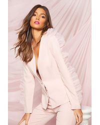 Boohoo Occasion Organza Frill Double Breasted Blazer - Pink