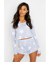 Boohoo Star Print Frill Hem Pyjama Shorts Set - Grey