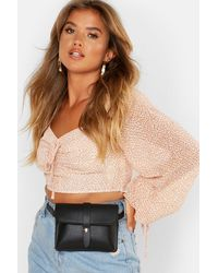 Boohoo Faux Leather Belted Bum Bag - Black