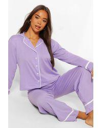 Boohoo Jersey Button Through Pj Trousers Set - Purple