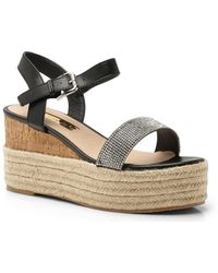 f6659ce39 Boohoo - Diamante Espadrille Wedge Flatforms - Lyst