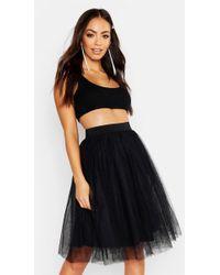 cbc4723abb27fb Boohoo Carmella Layered Tulle Midi Skirt in Black - Lyst
