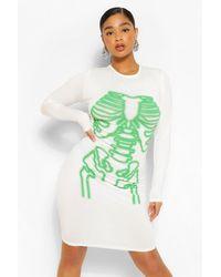 Boohoo Plus Halloween Neon Skeleton Bodycon Dress - White