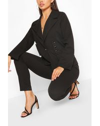 Boohoo Womens Tailored Button Detail Suit Set - Schwarz