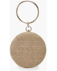 Boohoo Womens Raffia Straw Ring Handle Clutch Bag - Beige - One Size - Natural