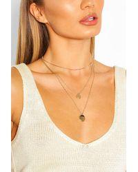 Boohoo Double Pendant Layered Necklace - Multicolour