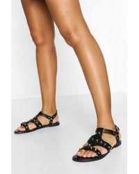 Boohoo Studded Gladiator Sandal - Black
