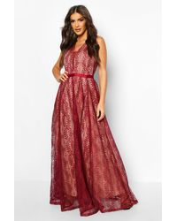 Boohoo Boutique Lace Plunge Maxi Bridesmaid Dress - Red