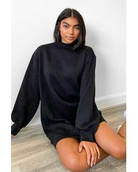 Boohoo Tall Balloon Sleeve Open Back Sweatshirt Dress - Black