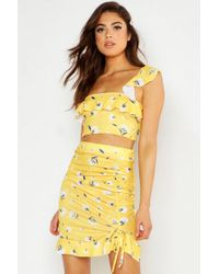 Boohoo Mixed Floral Strappy Top & Ruffle Mini Skirt Co-ord - Yellow