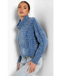 Boohoo Jersey Reciclado De Chenilla Con Cuello Vuelto Y Punto Trenzado - Azul